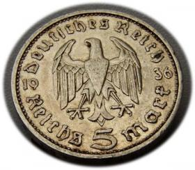 5 mark 1936 E Paul von Hindenburg / prussian eagle Muldenhutten