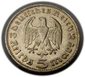5 mark 1935 D Paul von Hindenburg / prussian eagle Munich