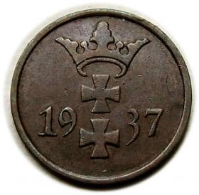 1 pfennig 1937 Free City of Danzig Gdansk