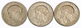 Set 2 zlote Head of Woman Second Polish Republic Warsaw 3 pieces