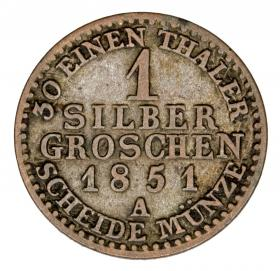 1 silver groschen 1851 Frederick William IV Germany Prussia Berlin A