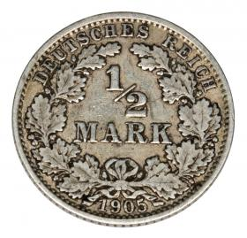 1/2 mark 1905 Wilhelm II, Prussia Berlin